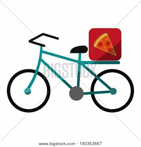 pizza bycicle flat illustration icon vector design graphic shadow