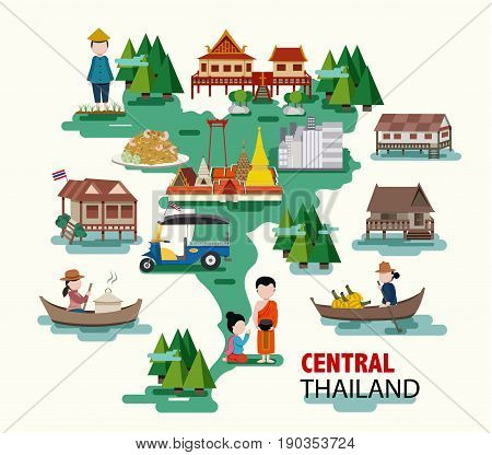 Central Thailand travel with their thai culture and identity all in flat design illustration vector