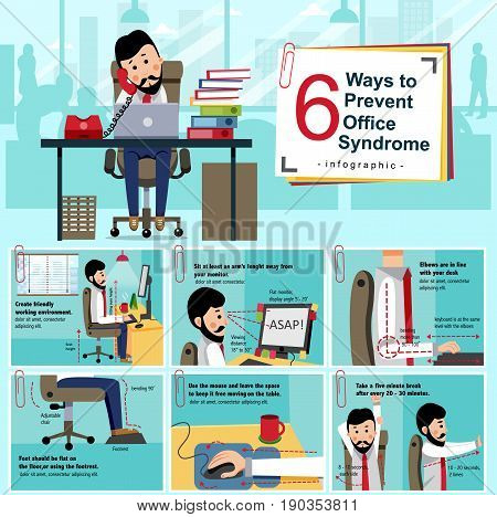 Office syndrome prevention infographic with cartoon office staff showing how to avoid the chronic disease caused by various factors in the work environment of people nowadays illustration vector.