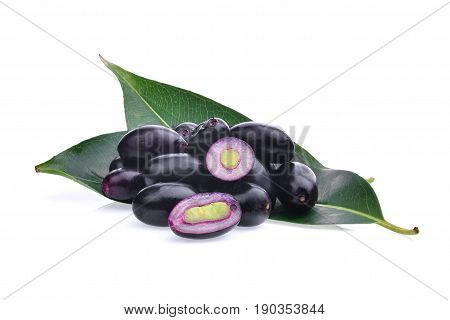 jambolan plum or Java plum isolated on white background