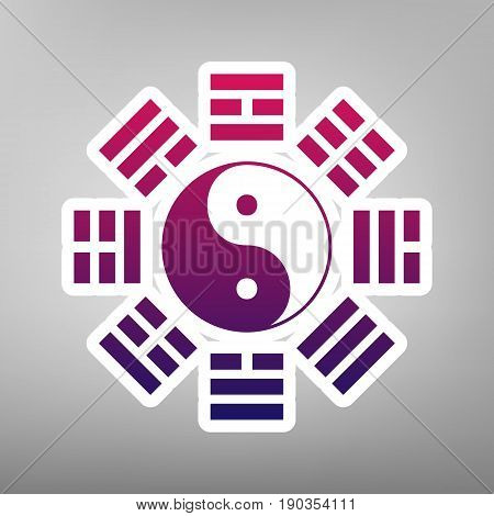 Yin and yang sign with bagua arrangement. Vector. Purple gradient icon on white paper at gray background.