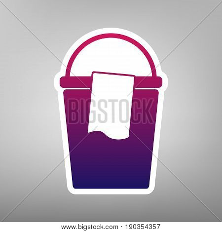 Bucket and a rag sign. Vector. Purple gradient icon on white paper at gray background.