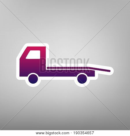 Service of evacuation sign. Wrecking car side. Car evacuator. Vehicle towing. Vector. Purple gradient icon on white paper at gray background.