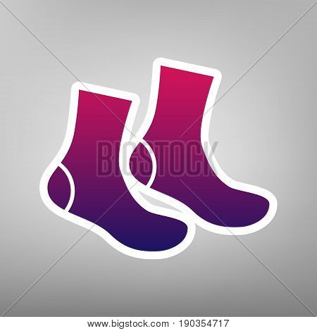 Socks sign. Vector. Purple gradient icon on white paper at gray background.