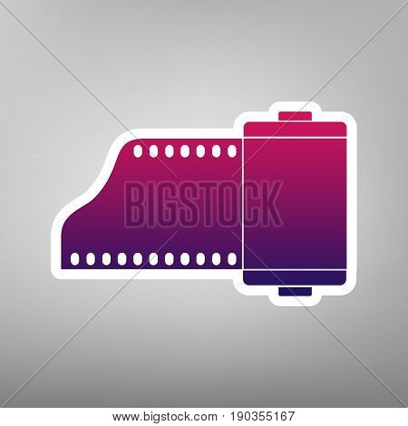 Old photo camera casset sign. Vector. Purple gradient icon on white paper at gray background.