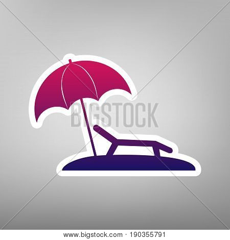Tropical resort beach. Sunbed Chair sign. Vector. Purple gradient icon on white paper at gray background.