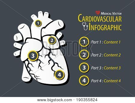 Cardiovascular Infographic . Flat design . vector