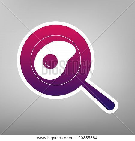 Omelet at pan icon. Vector. Purple gradient icon on white paper at gray background.