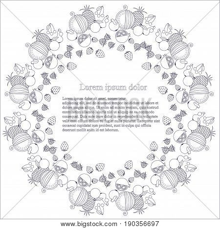 Round monochrome background with line style fruits, Lorem ipsum stock vector illustration