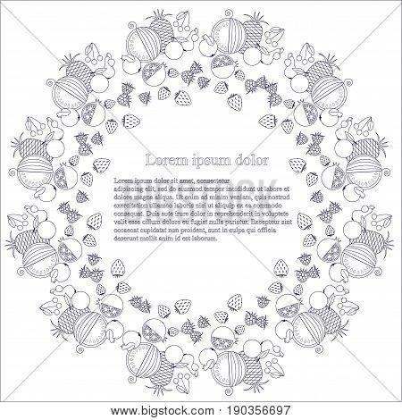 Round monochrome background with line style fruits, Lorem ipsum stock vector illustration