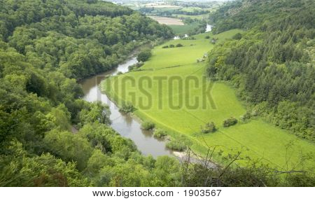 view of the valley of the river wye from symonds yat rock herefordshire midlands england poster
