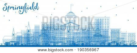 Outline Springfield Skyline with Blue Buildings. Business Travel and Tourism Concept with. Image for Presentation Banner Placard and Web Site.