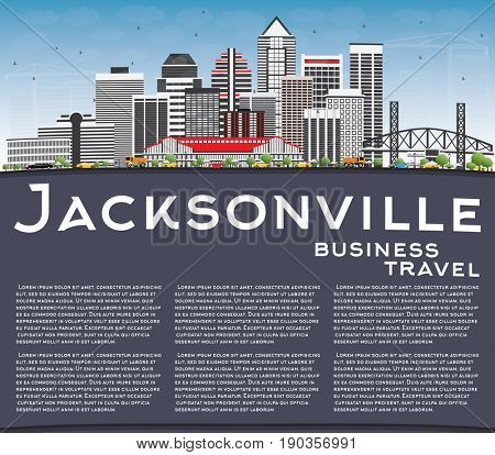 Jacksonville Skyline with Gray Buildings, Blue Sky and Copy Space. Business Travel and Tourism Concept with Modern Architecture. Image for Presentation Banner Placard and Web Site.