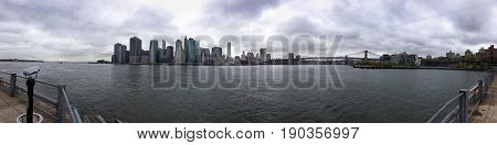 A view of the bay and downtown New York