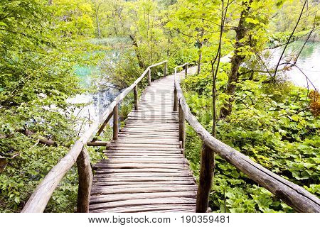 Wooden pathway in Plitvice lakes Croatia Balkans.