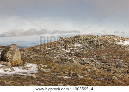 Top of Babia Gora in National Park (Babiogorski Park Narodowy) Poland. Mountain landscape of Babia Gora massif in Beskidy mountains.