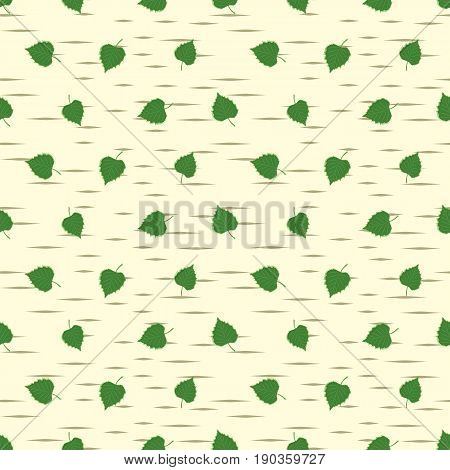 The seamless background with a birch leaves.