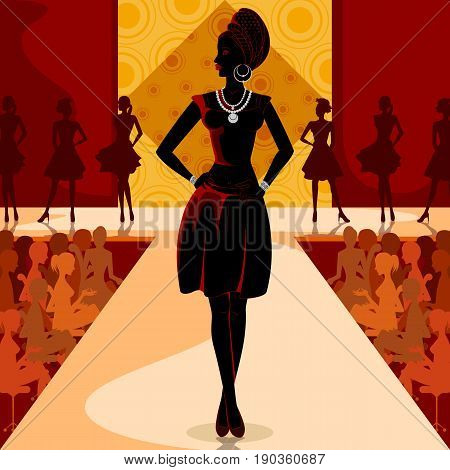 Vector design of beautiful African black woman modern stylish model on ramp