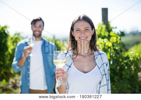Portrait of smiling young couple posing with wineglasses at vineyard
