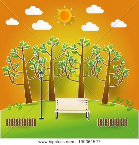 Natural landscape in pop up paper cut style. beautiful park.Environmentally friendly natural landscape.Vector illustration