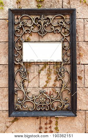 Wrought iron frame with space for image or text
