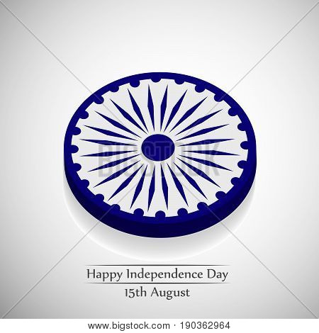 illustration of ashok chakra wheel in India flag a sign of continue progress with happy independence day 15th August text
