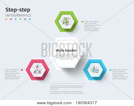 Business 3 Step Process Chart Infographics With Step Circles. Bright Corporate Graphic Elements. Com