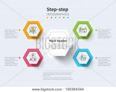 Business 4 Step Process Chart Infographics With Step Circles. Bright Corporate Graphic Elements. Com