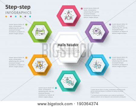 Business 6 Step Process Chart Infographics With Step Circles. Bright Corporate Graphic Elements. Com
