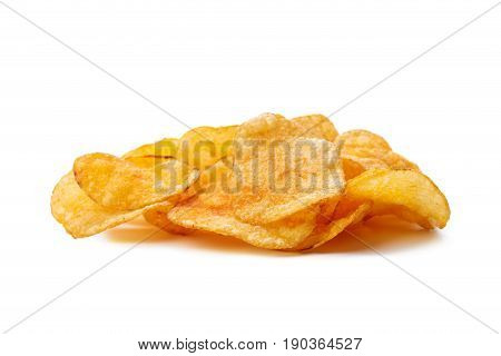 Potato chips isolated on white background .