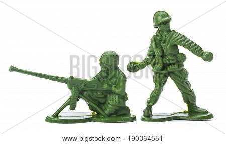 Collection of traditional toy soldiers isolated on white