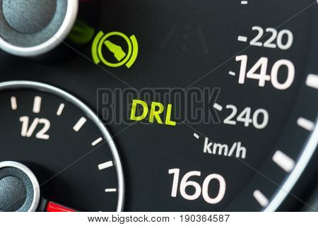 Car instrument panel . close up .