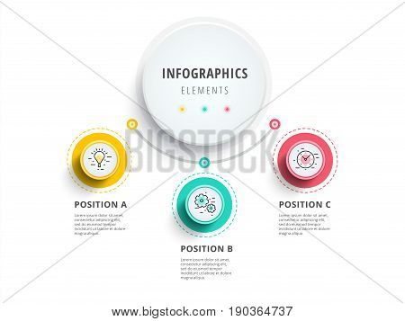 Business 3 Step Process Chart Infographics With Step Circles. Circular Corporate Graphic Elements. C