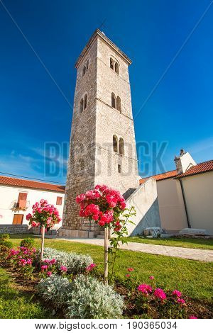 Tower bell of church of Saint Anselmo in Nin, Dalmatia, Croatia