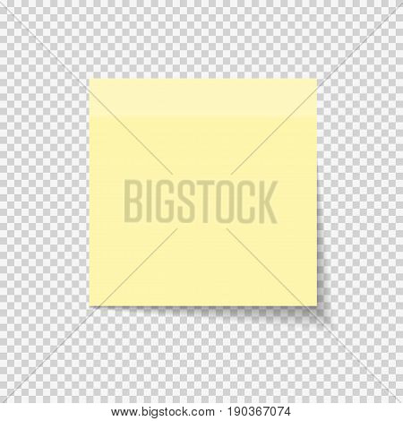 Sticky Paper Note on Transparent Background  Vector Illustration EPS10