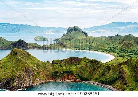 Padar Island Komodo National Park in East Nusa Tenggara Indonesia. Amazing marine seascape with mountains and rocks