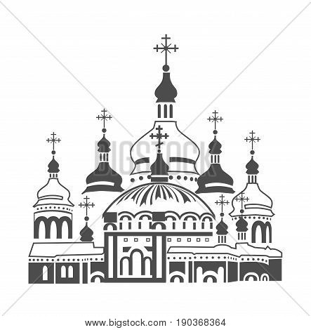 Orthodox cathedral icon. Kiev-Pechersk Lavra. Vector illustration in vintage style.