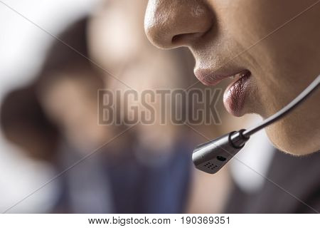 Cropped Shot Of Call Center Operator In Headset Working And Talking With Client