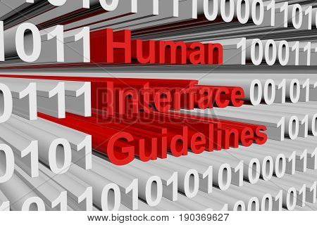 Human interface guidelines in the form binary code 3D illustration