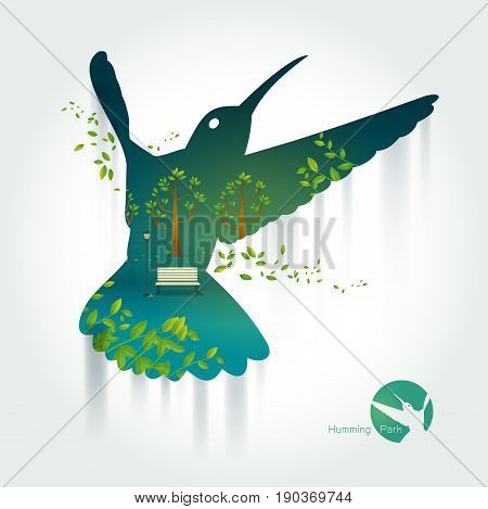 Silhouette of hummingbird with park on exotic landscape. a beautiful park.Environmentally friendly natural landscape.background of colorful sky . green and yellow tones.Vector illustration