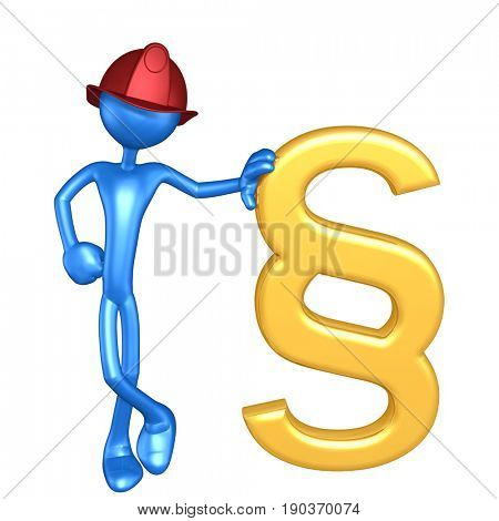 Fireman The Original 3D Character Illustration With A Paragraph Symbol