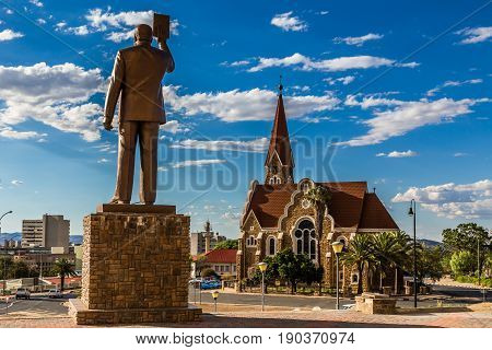 First Namibian President monument and Luteran Christ Church in the center of Windhoek Namibia