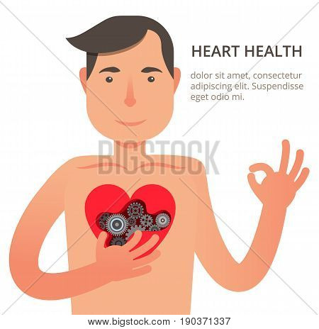 Vector illustration in modern flat style with satisfied patient from cardiology.Health care concept. Healthy man with strong heart. Can used for web banners and info graphic.