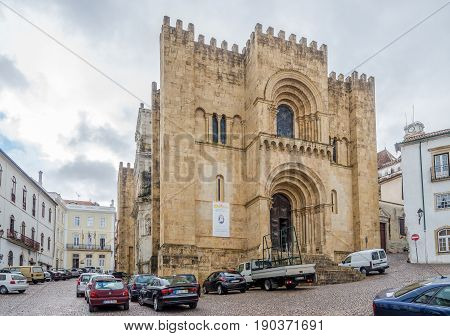 COIMBRA,PORTUGAL - MAY 12,2017 - View at the Old Cathedral in Coimbra. Coimbra is the fourth largest urban centre in Portugal.