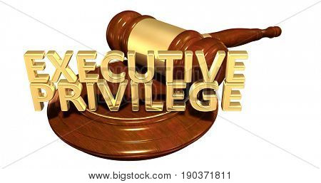 Executive Privilege Law Concept 3D Illustration