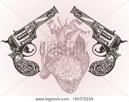 Tattoo guns with heart. Decorative ornamental guns