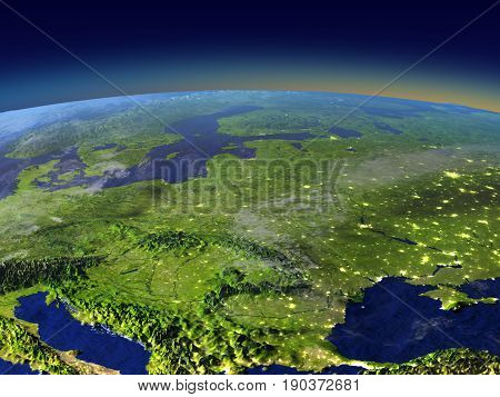 Evening Above Eastern Europe From Space