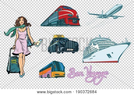 Tourist transport set on isolated background. passenger woman, tour bus cruise ship train taxi and plane. The inscription Bon voyage. Pop art retro vector illustration