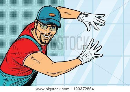 worker Builder puts tile. Construction and decoration. Pop art retro vector illustration