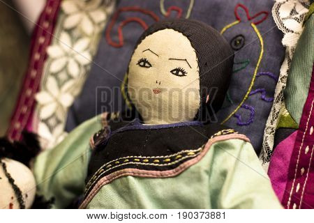 Traditional Original Syberian Doll. Religious Purpose Puppet. Scary Face Of Strange Dummy. Shaman To